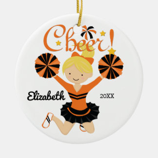 Orange & Black Cheer Blonde Cheerleader Ornament