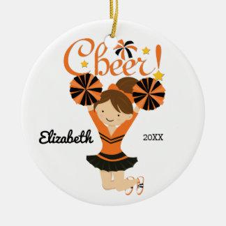 Orange & Black Cheer Brunette Cheerleader Ornament