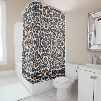Orange Black Cheetah Shower Curtain And Curtains  Zazzle