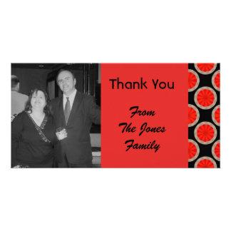 orange black circles photo card template
