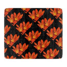 Orange black clivia photomontage pattern cutting board