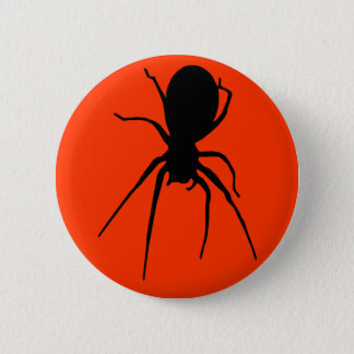Orange Black Creepy Spider Button