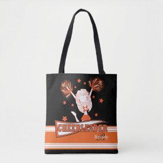 Orange & Black Cute Cheerleader Girl Tote Bag