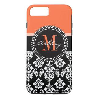 Orange Black Damask Pattern Monogram iPhone 7 Plus Case