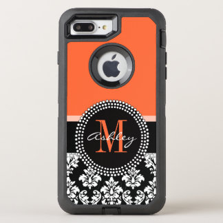 Orange Black Damask Pattern Monogram OtterBox Defender iPhone 8 Plus/7 Plus Case