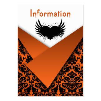 Orange, Black Damask Wedding Enclosure Card Large Business Cards (Pack Of 100)