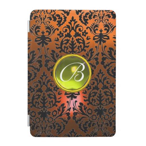 ORANGE BLACK DAMASK YELLOW GEM MONOGRAM Floral  iPad Mini Cover