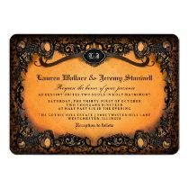 Orange Black Elegant Halloween Wedding Invitation