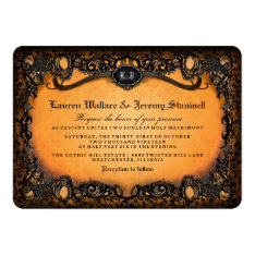 Orange Black Elegant Halloween Wedding Invitation at Zazzle