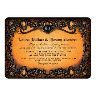 Halloween wedding invitations zazzle orange black elegant halloween wedding invitation filmwisefo
