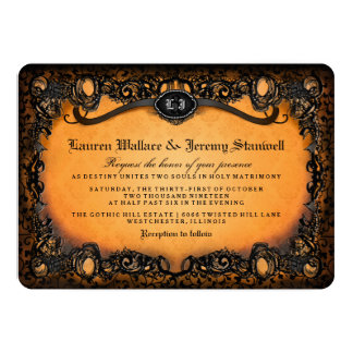 Orange Black Elegant Halloween Wedding Invitation