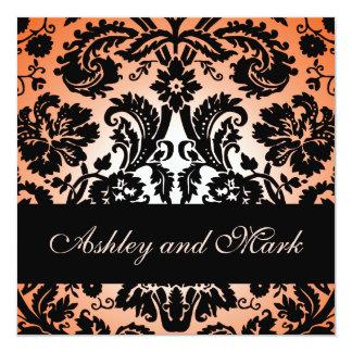 "Orange Black Floral Damask Wedding Invitation 5.25"" Square Invitation Card"