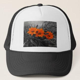 Orange & Black Flower Floral Photography Design Trucker Hat