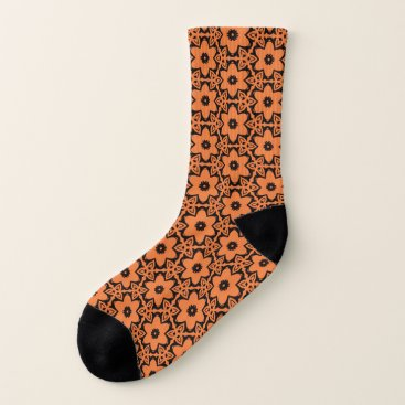 Halloween Themed Orange Black Flower Floral Seamless Tiled Pattern Socks