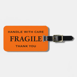 Orange Black Fragile Handle with Care Thank You Travel Bag Tag