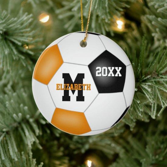 orange black girls boys team colors soccer ceramic ornament