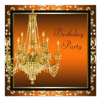 Orange Black Gold Damask Chandelier Birthday Party Card