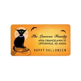 Orange & Black Halloween Cat Address Label