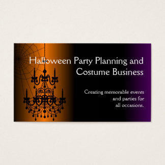 Orange/Black Halloween Chandelier Business Card
