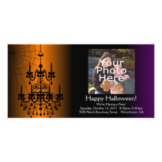 Orange/Black Halloween Chandelier Card