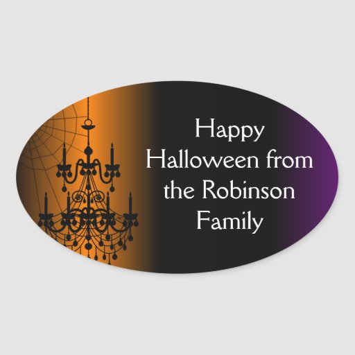 Orange/Black Halloween Chandelier Oval Stickers