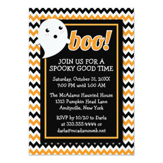 Orange & Black Halloween Chevron & Ghost Party 5x7 Paper Invitation Card