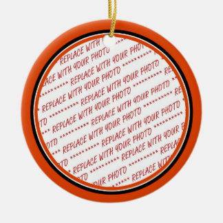 Orange & Black (Halloween Colors) Trimmed Template Ceramic Ornament