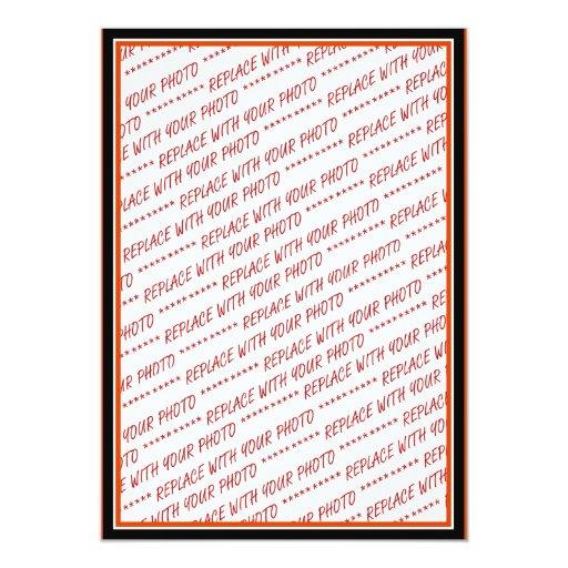 Orange & Black (Halloween Colors) Trimmed Template 5x7 Paper Invitation Card