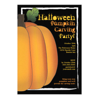 Orange & Black Halloween Pumpkin Carving Party Personalized Invitations