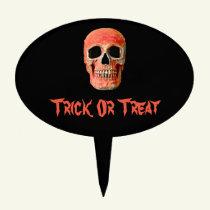 Orange Black Halloween Trick Or Treat Skull Cake Topper