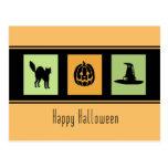 Orange Black Happy Halloween Postcards