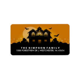 Orange & Black Haunted House Address Labels