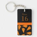 Orange black hotel room key Single-Sided rectangular acrylic keychain