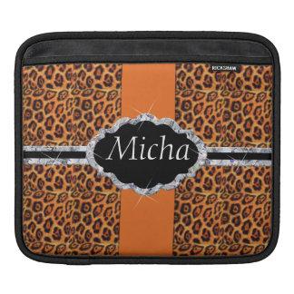 Orange Black Jaguar Spots Diamond Monogram iPad Sleeve