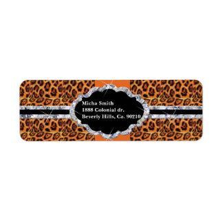 Orange Black Jaguar Spots Diamond Monogram Label
