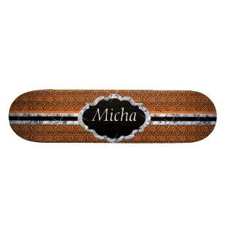 Orange Black Jaguar Spots Diamond Monogram Skateboard