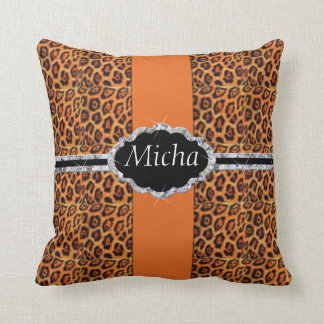 Orange Black Jaguar Spots Diamond Monogram Throw Pillow