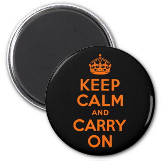 Orange Black Keep Calm and Carry On 2 Inch Round Magnet