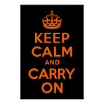 Orange Black Keep Calm and Carry On Poster