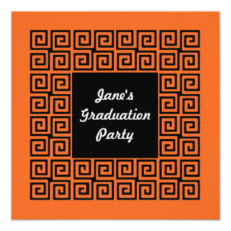 Orange & Black Key Pattern Party Invitation