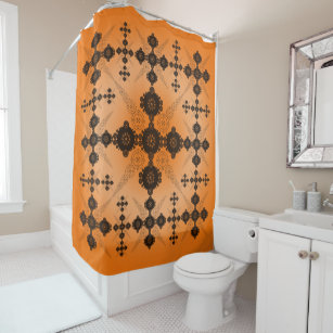 Orange Black Lace Celtic Shower Curtain