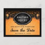 🎃  Orange & Black Lace Halloween Save Date PostCard