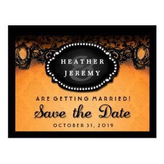 Orange & Black Lace Halloween Save Date PostCard