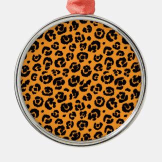 Orange Black Leopard Print Metal Ornament