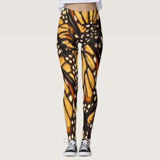 Orange Black Monarch Butterfly Abstract Leggings