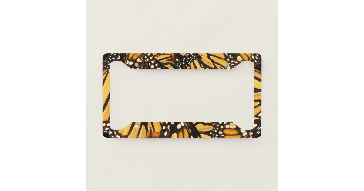 Orange Black Monarch Butterfly License Plate Frame | Zazzle.com