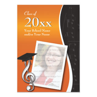 Orange & Black Music Graduation Invitation at Zazzle