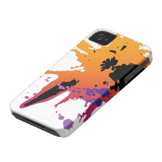 Orange black paint splatter blackberry bold case