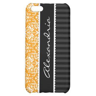 Orange & Black Personalized Damask iPhone 4 Case