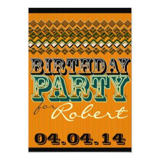 Orange Black Pinstripes Birthday Party Invitations
